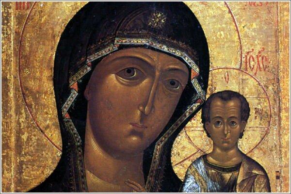 Старинная икона Казанской Божией Матери